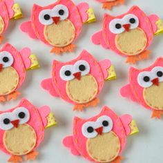 Bright Pink and Yellow Felt Owl Hair Clip - Cute Everyday Owl Felt Clippies - Birthday party favors - Owl felt hair clips