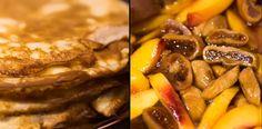 Clatite cu sos caramel, piersici si smochine. Waffles, Pancakes, Pot Roast, Caramel, Beef, Ethnic Recipes, Food, Meat, Carne Asada