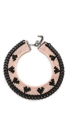 Venessa Arizaga Sweetheart Necklace http://www.beso.com/4887265458/d... FREE SHIPPING at shopbop.com. A band of petite hearts patterns a crochet panel on this dramatic curb-chain necklace. Lobster-claw clasp. Brass. Made in the USA. MEASUREMENTS Length: 18in /.