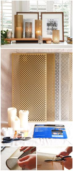Use patterned aluminum sheets to make elegant candle holders. You can decorate the inside of your fireplace with them or gift them with a scented candle!