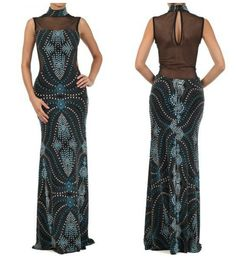Abstract Print Mesh Inset Maxi Gown