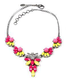 Loving this Fuchsia & Yellow Melissa Necklace on #zulily! #zulilyfinds