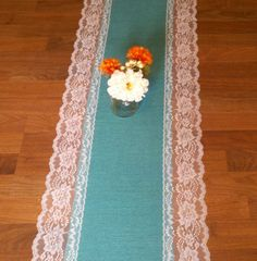 Wedding Table Decor - Tiffany blue Burlap and Lace Table Runners with White Lace on Etsy, $35.00