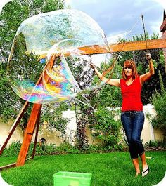 Make giant bubble wands and bubbles (Okay Sarah we are going to try this at our next playdate!)