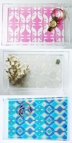 clear storage trays with pattern bottom - great for jewelry, perfume, keys, etc!
