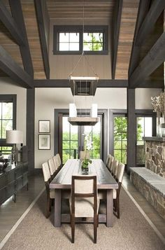The Cliffs at Mountain Park: Private Residence - eclectic - dining room - charleston - Linda McDougald Design Stained Wood Trim, Dark Wood Trim, Dining Room Paint Colors, Paint Colors For Home, Rustic Paint Colors, Wood Colors, Paris Home, Modern Mountain Home, Wood Ceilings