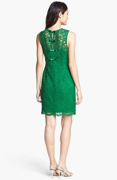 Back bow detail green lace dress