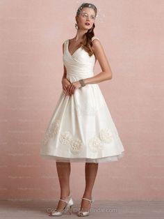 A-line V-neck Taffeta Tea-length Flowers Ivory Wedding Dresses at Millybridal.com