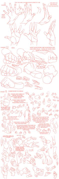 "via teamtrashcan.tumblr.com (unable to pin from there) ""Hands Tutorials for Those Who Hates Drawing Them"" ""Original can be found on Pixiv, I just translated it. I figured it can be helpful to some. Here's a combined version for those who prefer one giant tutorial."""