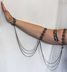 Bellydance chain and drape armband chainmail stainless steel handflower slave bracelet
