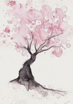 Cherry Blossom Tree Print Watercolor Painting Print Spring Tree Gift Bedroom Decor Wall Art Cherry Blossom Decor Home Wall Decor Aquarell Wasserfarben Colorful Art, Watercolor Trees, Art Drawings, Watercolor Wall Art, Drawings, Watercolor Paintings, Painting, Painting Prints, Art