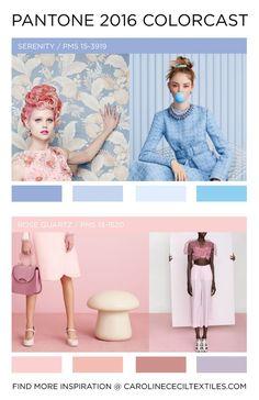 #carolinececiltextiles Pantone Color Forecast 2016 | trend | color | ss16 | aw16 | fw16 | fashion trends | pastel | rose quartz | serenity | pastel blue