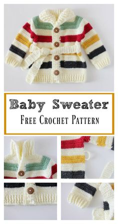 Hudson's Bay Baby Sweater Free Crochet Pattern #babyclothing #babycrochet #freepattern