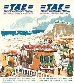 Vintage airline timetable brochure memorabilia 1235.jpg | ΤΑΕ national Greek airlines in 1952