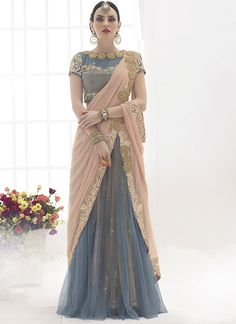 Peach and Grey Colour Net Fabric Party Wear Lehenga Saree Comes With Matching Blouse. This Saree Is Crafted With Diamond Work,Patch Border Work. This Saree Comes With Unstitched Blouse Which Can Be St. Lehenga Style Saree, Net Lehenga, Party Wear Lehenga, Lehenga Choli, Anarkali, Indian Dresses, Indian Outfits, Indian Clothes, Ethnic Fashion