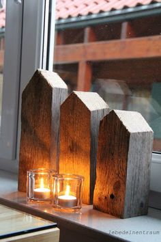 Rustical Wooden Houses for the window sill – Pillanatok – Rustic House Miniature Houses, Window Sill, Little Houses, My New Room, House In The Woods, Christmas Inspiration, Wood Crafts, Wood Projects, Christmas Decorations