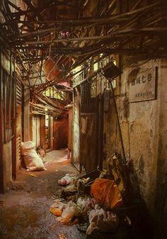 Kowloon Walled City - Cyborg Anthropology / dark future / sci fi city inspiration Kowloon Walled City, Cyberpunk, Hong Kong, Ruined City, Alleyway, City Aesthetic, Sci Fi City, Future City, Favelas