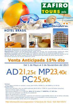 Zafiro tours en Yecla te ofrece noche en hotel brasil de #Benidorm por 25,50 € en pensión completa !!!¿una escapada?...ven e infórmate