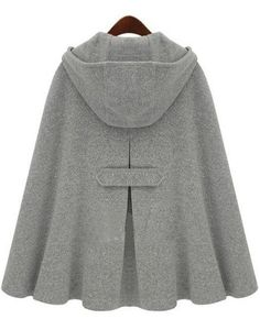 "Grey Hoodie Two PU Buckle Woolen Poncho Coat - I do like the front but the back is just adorable. Also, this is what we call a CAPE. I know we Americans don't seem to wear them much, but saying ""Woolen Poncho Coat"" is just ridiculous."