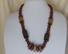 """Vintage 22""""  1970's Statement Necklace, Various Size Chunky Wood  Brown Beads,Screw-on Clasp,VJ2024N by ckdesignsforyou. Explore more products on http://ckdesignsforyou.etsy.com"""