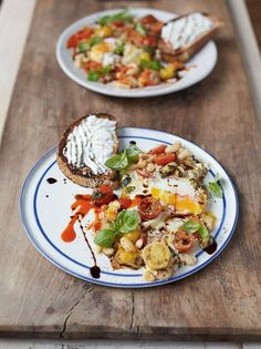 This baked eggs recipe from Jamie is the perfect way to start the day, the eggs are in popped beans with cherry tomatoes and ricotta on toast; delicious!