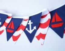 Nautische kwekerij decor, nautische verjaardag, baby douche decor, stof bunting, nautische bunting, blauw, Marine, rood, anker, boot, jongens kamer