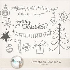 Cliparts  Christmas Doodles 3. Perfect for by VeraLimDesign, $5.00