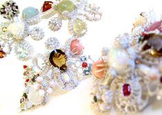 "Pernille Mouritzen born 1962 Danish designer  Brooches and pendants, ""FloraOblitus"", silver and a mix of stones."