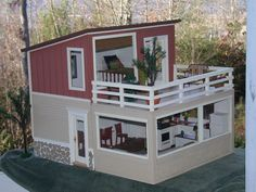 Chronicling my obsession with modern dollhouses and miniatures. House Roof Design, Bungalow House Design, Container House Design, Tiny House Design, Modern Small House Design, Simple House Design, House Construction Plan, Casas Containers, Model House Plan