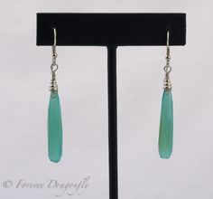 Exquisite Ocean Colored Aqua Chalcedony Long Briolette Earrings by Forever Dragonfly/Aqua Chalcedony Earrings/Chalcedony Gemstone by ForeverDragonfly on Etsy