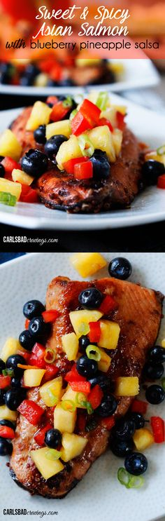 Sweet and Spicy Asian Salmon with Blueberry Pineapple Salsa. Seriously the BEST salmon I've ever had and super simple to make! If you like Asian food, you HAVE to make this! | Carlsbad Cravings