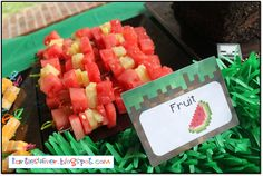 Minecraft Party Food - Fruit cubes