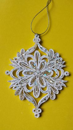 Items similar to Christmas Snowflake Ornament on E - Paper Quilling Designs Disney Diy Christmas Fireplace, Diy Christmas Snowflakes, Quilling Christmas, Crochet Christmas Ornaments, Snowflake Ornaments, Christmas Presents, Etsy Christmas, Christmas Items, Christmas Christmas