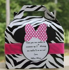 Set of 12  Minnie Mouse Zebra Hot Pink and   Black Birthday Party  Favor Box