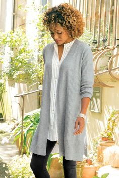 """A cozy, longer length cardi in soft, jersey-knit cotton mix. Clean straight-body fit with long sleeves makes for a perfect lightweight layer. Poly/nylon/cotton. Misses 36-1/2"""" long. Shelby Cardigan #2AP34"""