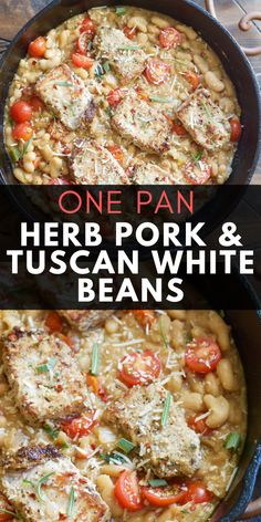 Make these easy one pan Garlic Herb Pork Medallions with Tuscan White Beans for a hearty comforting dish ready in under 30 minutes! Ww Recipes, Pork Recipes, Cooking Recipes, Free Recipes, Budget Recipes, Tina Recipe, Pork Medallions, Healthy Weeknight Meals, 30 Minute Meals