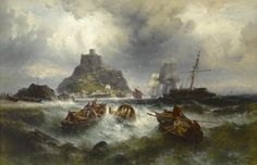 Theodor Alexander Weber (German, 1838-1907) Salvaging a Shipwreck off St. Michael's Mount 43 x 75-1/2 in. (109.2 x 191.7 cm.)