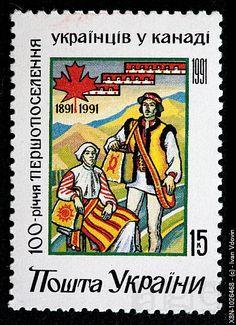100 years of settling Ukranians in Canada, postage stamp, Ukraine, 1991