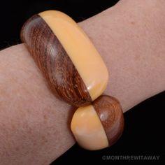 Chunky Vintage PEACH Orange BAKELITE Laminated WOOD Bracelet Hinged CLAMPER