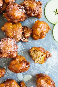 Apple fritters so amazing! We fried up some bacon and crumbled it in the batter. Extra yum!