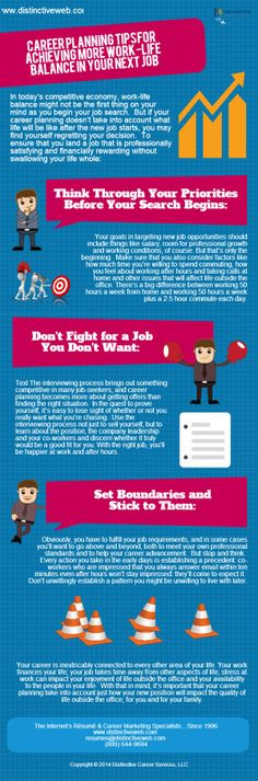 An infographic with #career planning tips for achieving more #work-life balance in your next #job.