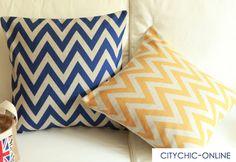 Retro Yellow Chevron ZigZag Wave Linen Cushion Cover