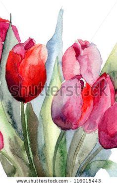 Tulips flowers, Watercolor painting by Regina Jershova, via ShutterStock