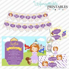 Sofia The First Birthday Party Printable by SealsItWithAKiss, $25.00