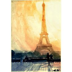 Vibrant Watercolor Paintings Of World Famous Landmarks And Cities ❤ liked on Polyvore featuring backgrounds, art, decor and paris