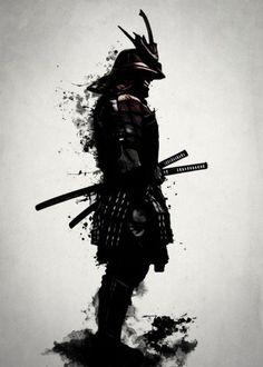 samurai warrior ronin ninja armour armor sword katana spatter ink dark japan japanese Illustration
