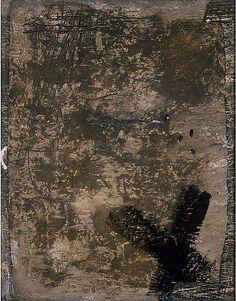 'Grey and Black Cross. No. XXVI, 1955' by Antoni Tapies