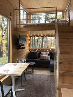 Tiny house cabin, tiny house rentals и tiny house design. Tiny House Loft, Tiny House Living, Tiny House Plans, Tiny House Design, Living Room, Tiny House Bedroom, Tiny House On Wheels, Cozy House, Tree House Designs