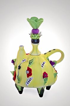Porcelain and Mixed Media Teapot by Laura Peery
