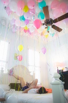 surprise...wake up to a room full of ballons on her birthday!!